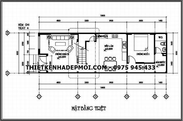 Bản vẽ thiết kế mặt bằng nội thất tầng trệt nhà ống mái thái 80m2 diện tích 5x20