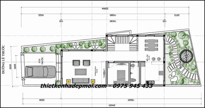 Bản vẽ kích thước mặt bằng tầng trệt nhà đẹp 2 tầng mái ngói