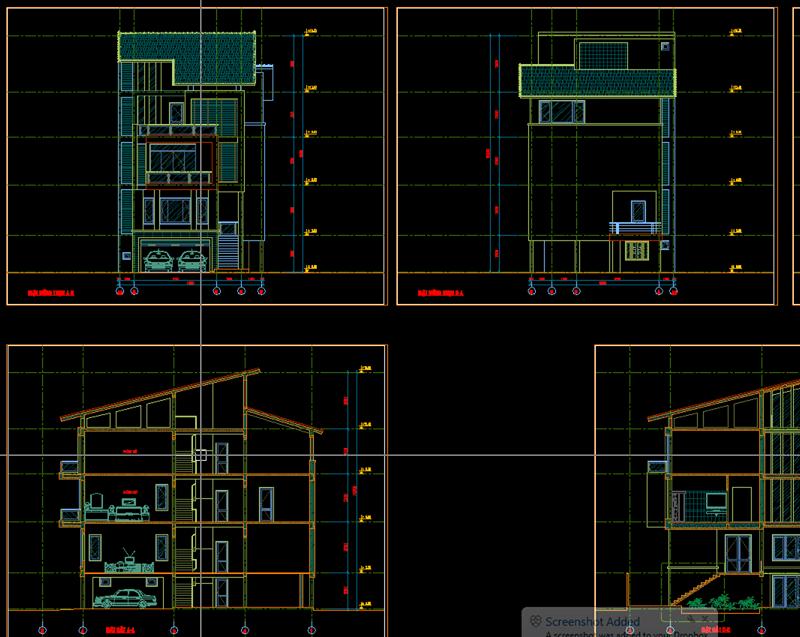 Kiến trúc biệt thự 1 trệt 2 lầu 1 sân thượng mặt tiền 8m