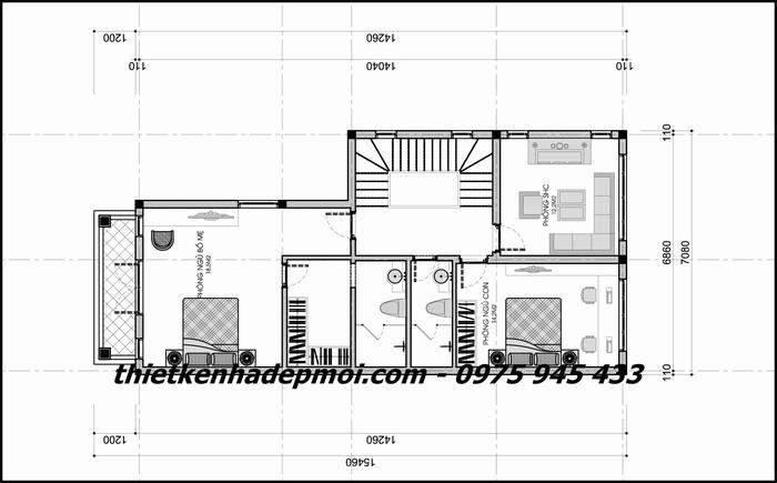 Bản vẽ mặt bằng nội thất tầng 2 nhà phố 1 trệt 1 lầu nở hậu 5,5m