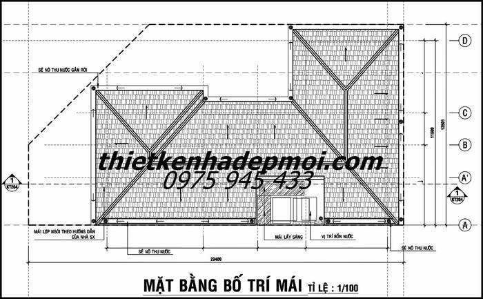 Bản vẽ phần mái nhà ở 1 tầng 2 mặt tiền ngang 25 sâu 12m ở nông thôn
