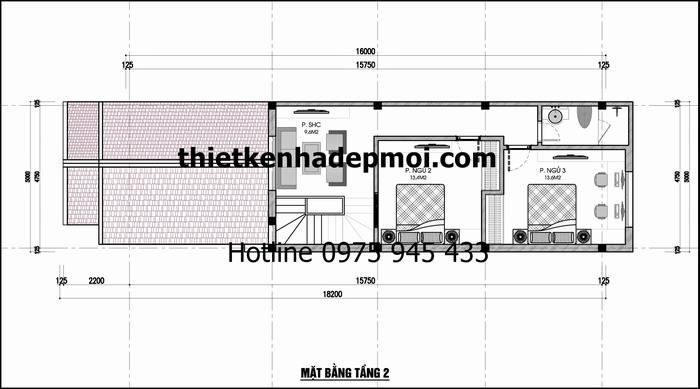 Bản vẽ mặt bằng tầng lửng thiết kế 2 phòng ngủ 1 phòng sinh hoạt chung diện tích xây dựng 40m2