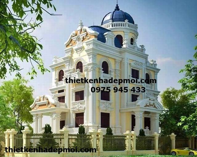 Hình ảnh lâu đài đẹp nhất Việt nam phong cách cổ điển châu âu gam màu trắng vàng đặc trưng biệt thự kiểu pháp