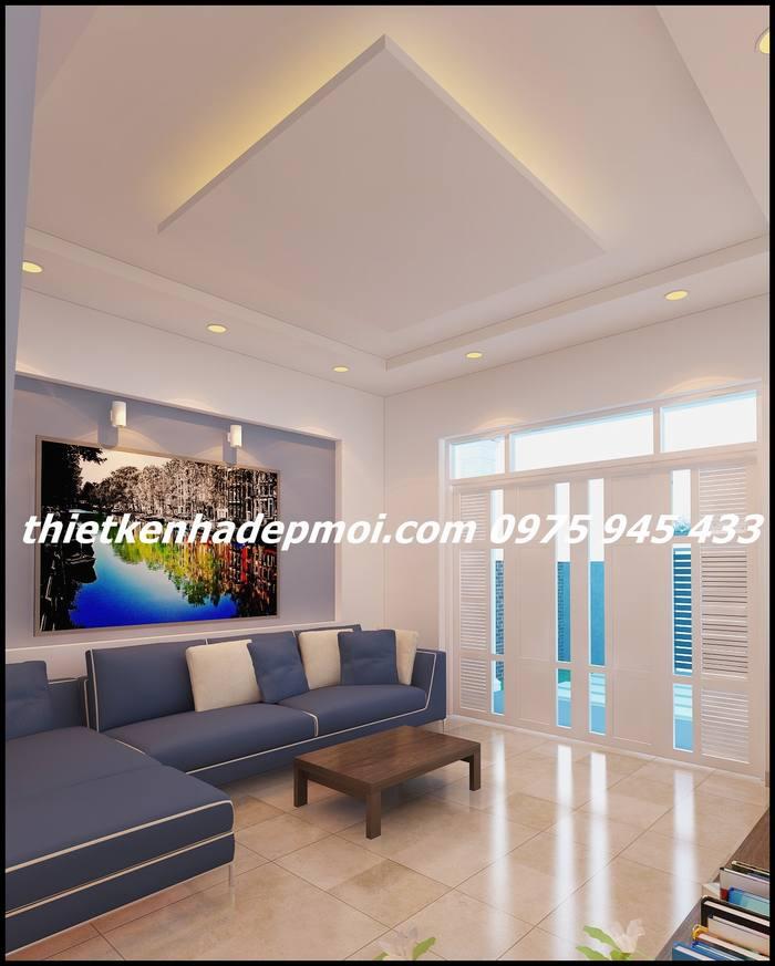 Thiết kế nội thất phòng khách nhà cấp 4 đơn giản mái tôn 300 triệu