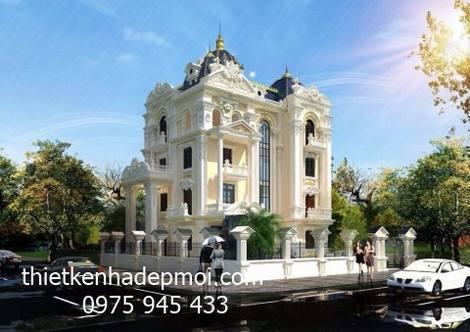 Mẫu thiết kế biệt thự lâu đài cổ phong cách kiến trúc châu âu tân cổ điển 4 tầng tại khu đô thị trung tâm Vorf Leey