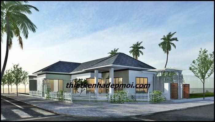 Tổng quan kiến trúc tổng thể mẫu nhà ở 1 tầng 2 mặt tiền ở quê mái lợp ngói