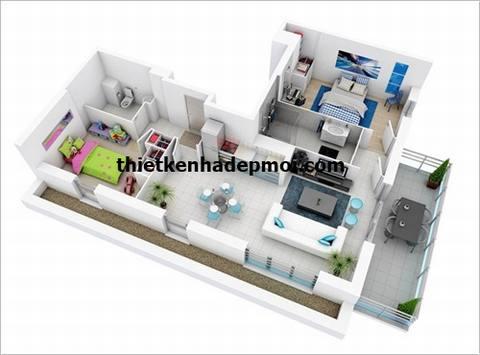 Thiết kế nhà 1 tầng 80m2 3 phòng ngủ