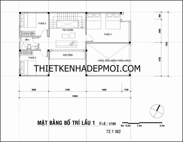 Bản vẽ thiết kế nhà 2 tầng giá rẻ cho tầng lầu trước có khoảng thông tầng thoáng mát