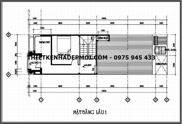 Mặt bằng tầng lửng nhà ống 5m mặt tiền mái thái lợp ngói 5x16