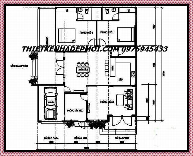 Bản vẽ thiết kế mặt bằng biệt thự 1 tầng 13x12 cho kích thước
