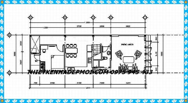 Mặt bằng nội thất tầng trệt mẫu nhà phố 1 trệt 1 lầu đơn giản mà đẹp 5x20