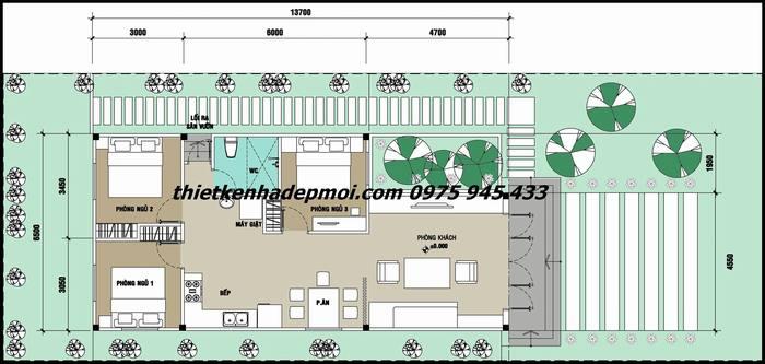 Mặt bằng nội thất bên trong thiết kế trên khu đất ngang 9,5 dài sâu 50m
