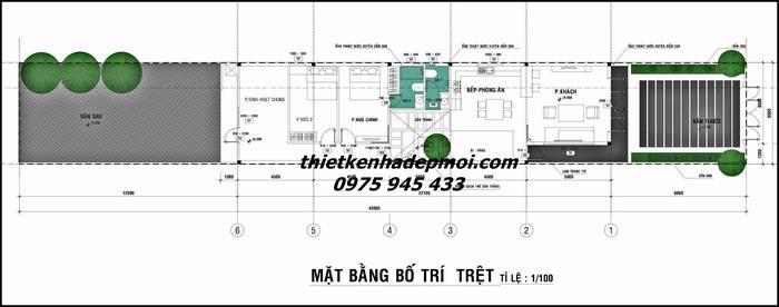 Mặt bằng tổng thể mẫu thiết kế nhà ngang 6m