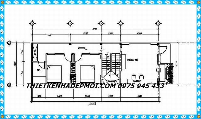 Bản vẽ kích thước tầng lầu 1 nhà ống hiện đại 80m2