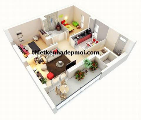 Hình 3D mặt bằng nhà 1 tầng 2 phòng ngủ 80m2