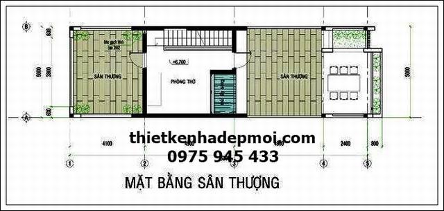 mat bang san thuong mau thiet ke nha ong 2 tang 5x18 thoang