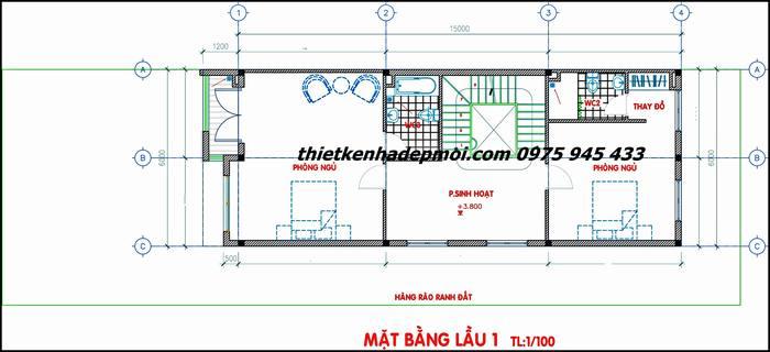 Bản vẽ lầu 1 tức tầng 2 mẫu nhà biệt thự phố 6x15