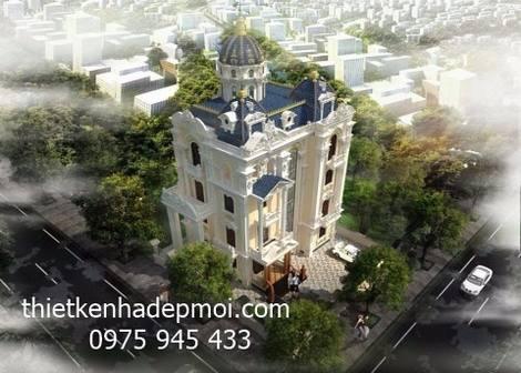 Góc view tổng thể theo đường chim bay kiểu dáng biệt thự lâu đài 4 tầng 160m2