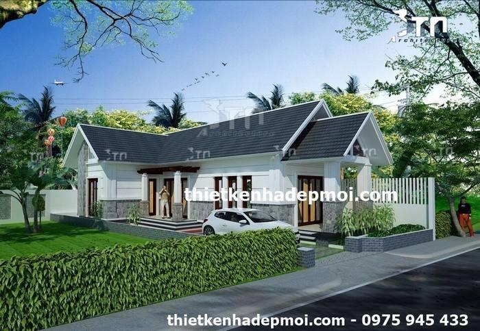 Góc view 3 mẫu nhà mái thái 1 tầng hình chữ L đẹp lợp ngói 2 phòng ngủ đơn giản thoáng mát