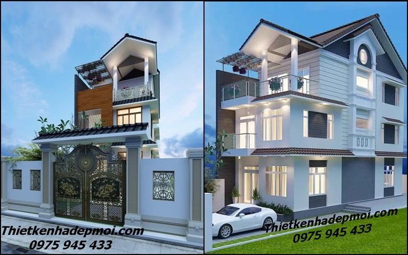 Mẫu nhà 3 tầng mặt tiền 6m đẹp kiến trúc hiện đại mái thái có sân để ô tô anh Phú