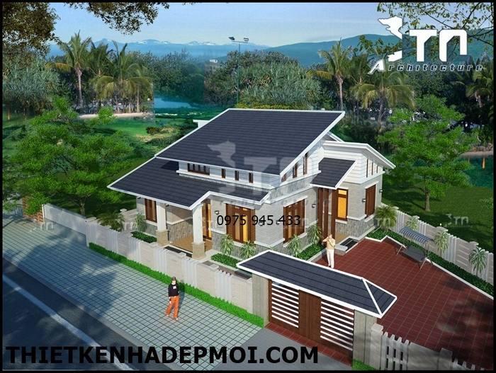 Góc nhìn 2 quang cảnh nhà gác lửng mái lệch hiện đại 120m2 3 phòng ngủ anh Sơn Thanh Hóa