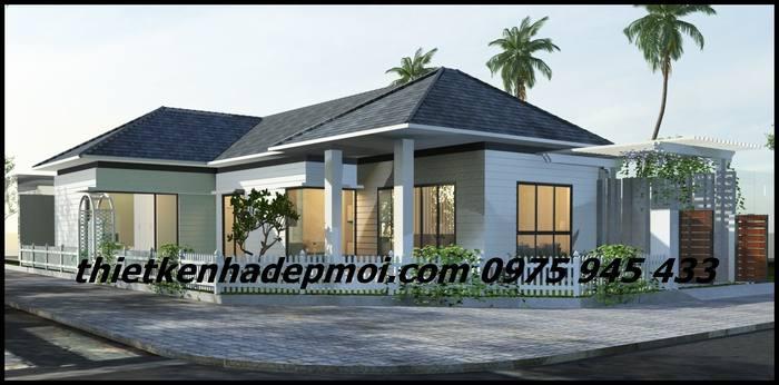 Kiến trúc nhà ở nông thôn 1 tầng mái thái 2 mặt tiền thoáng rộng