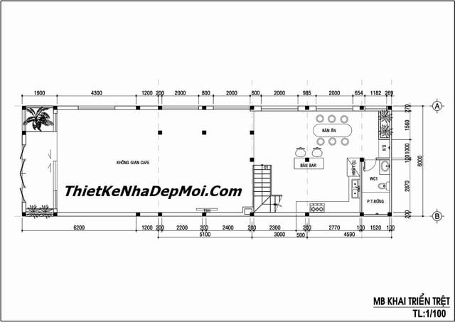Mặt bằng thiết kế quán cafe mặt tiền 6m