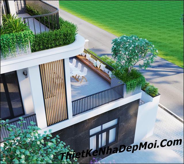 Thiết kế nhà 2 mặt tiền phố hiện đại