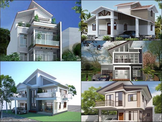 Các mẫu nhà 2 tầng mái lệch đẹp