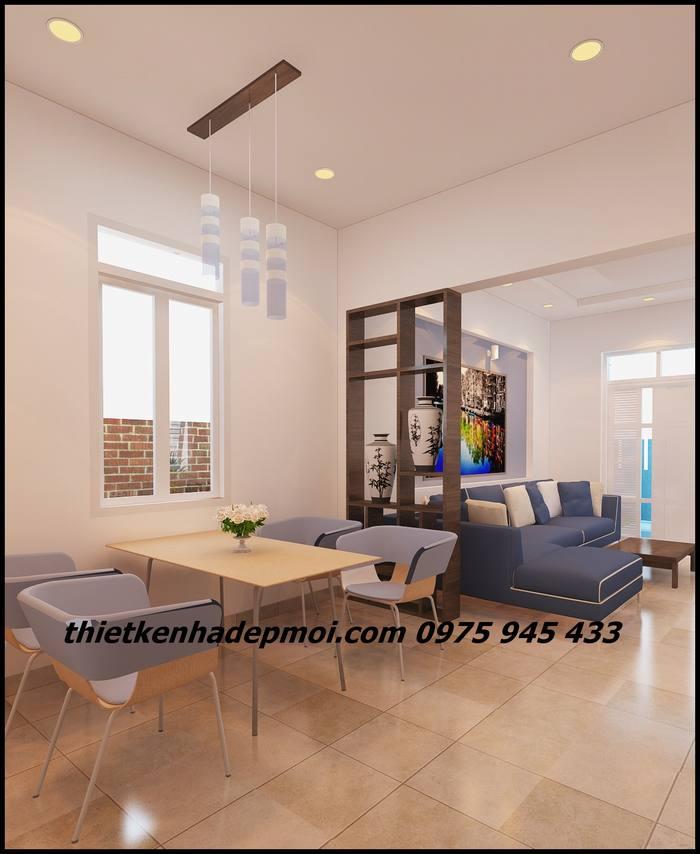 Không gian nội thất phòng ăn và phòng khách liên thông