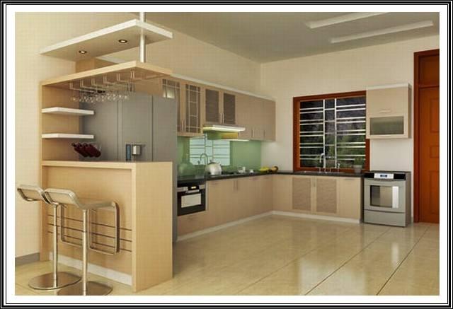 Nội thất nhà đẹp cấp 4 có gác lửng hiện đại cho phòng bếp