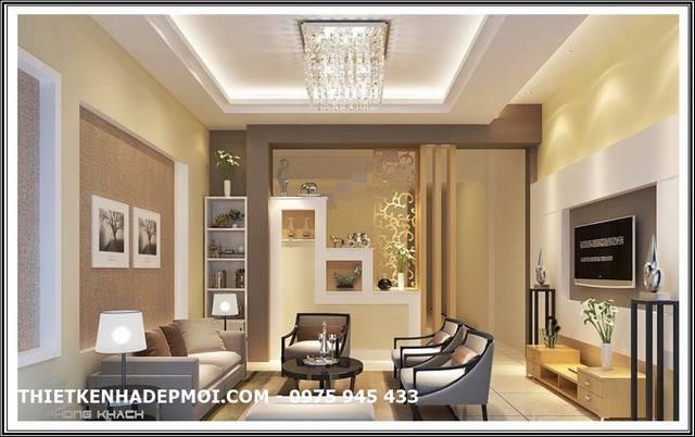 Thiết kế nội thất phòng khách nhà ống 1 tầng hiện đại 5x16 mái thái đẹp gam màu vàng nhạt sang trọng