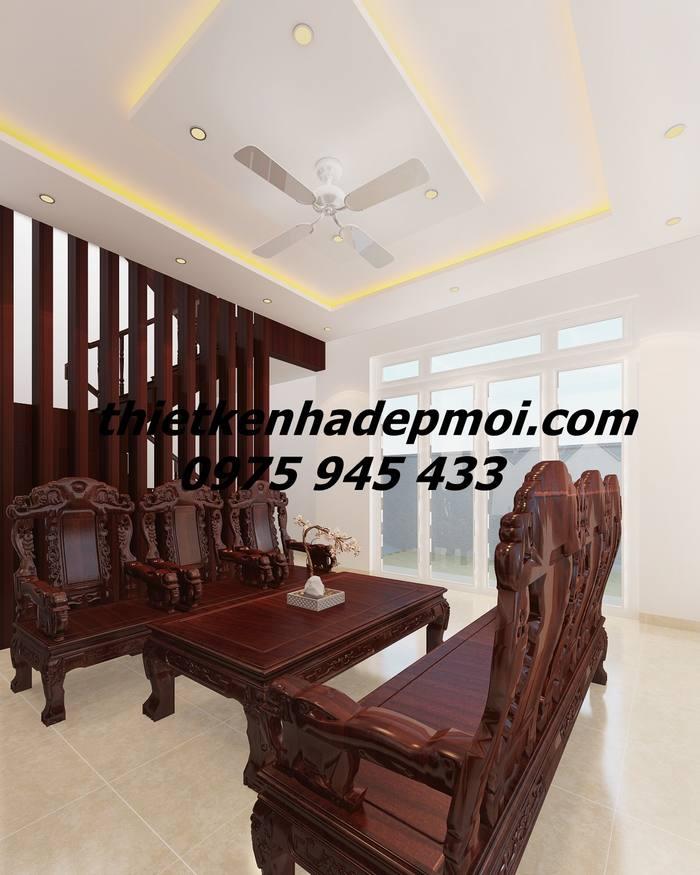 Hình ảnh 3D phòng sinh hoạt chung biệt thự phố trang trí bàn ghế gỗ mộc sang trọng góc view 1