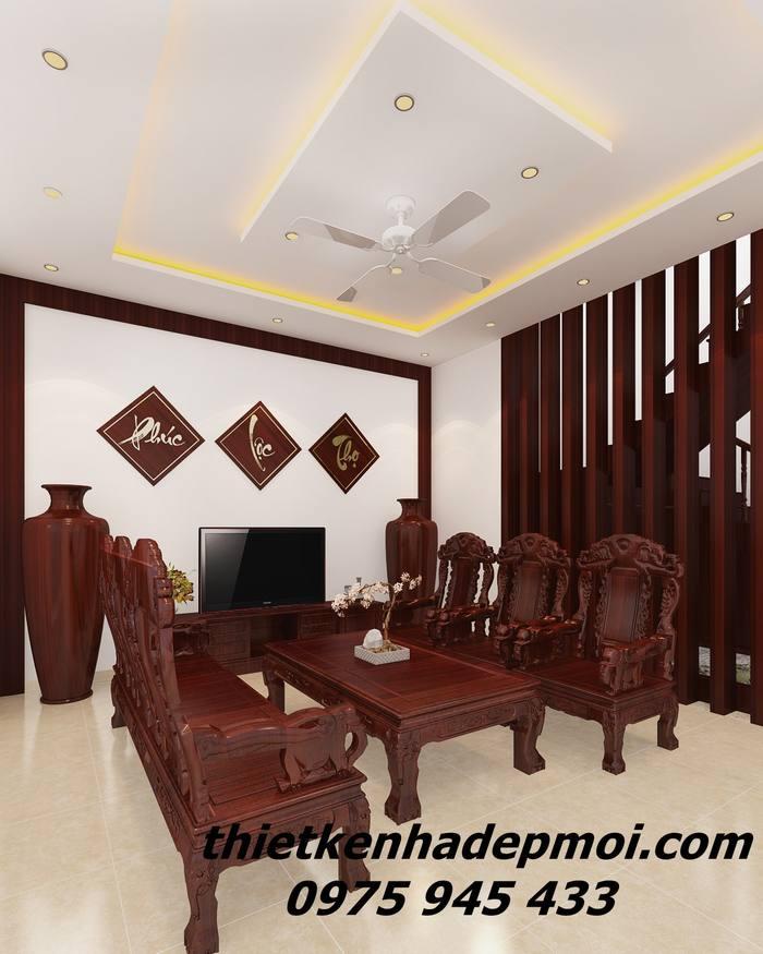 Hình ảnh 3D phòng sinh hoạt chung biệt thự phố trang trí bàn ghế gỗ mộc sang trọng góc view 2