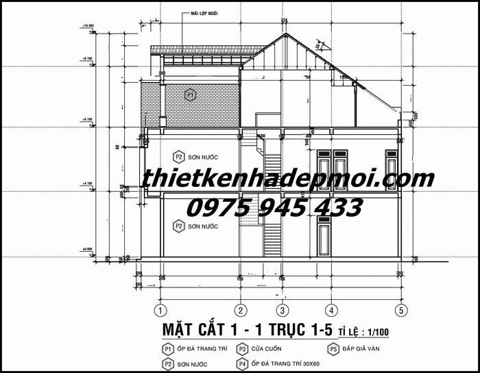 Bản vẽ mặt cắt nhà biệt thự phố hiện đại 3 tầng mái ngói 10x16