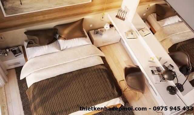 Nội thất phòng ngủ master vợ chồng gam màu vàng nhạt góc view 2