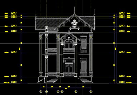 Bản vẽ các trục đứng, mặt bằng mái.. biệt thự mini 2 tầng kiểu pháp đẹp