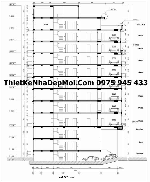 Bản vẽ xây dựng khách sạn 11 tầng rộng 10x15m