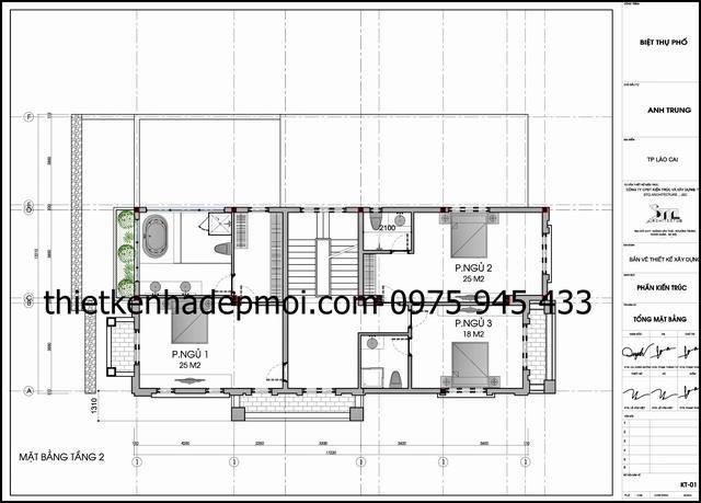 Thiết kế biệt thự 3 tầng kiểu Pháp cổ 8x17m 2 mặt tiền