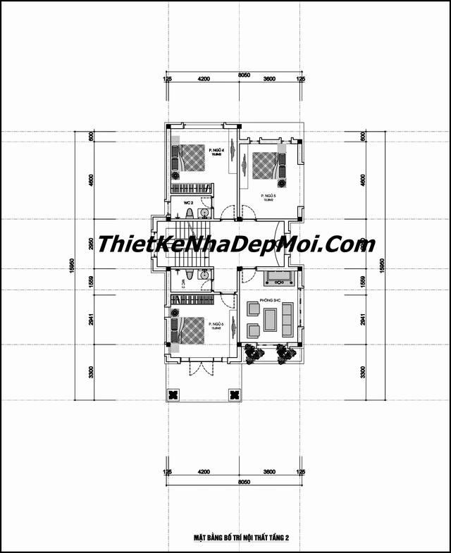 Bản vẽ nhà mái thái 2 tầng 6 ngủ