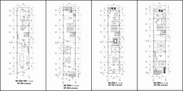 Mặt bằng nhà rộng 4.5m 3.5 tầng