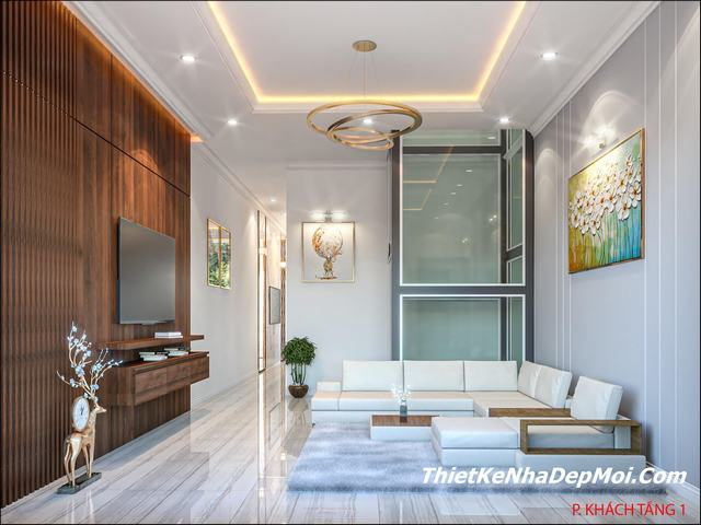 Cải tạo nội thất phòng khách nhà phố rộng 4.5m