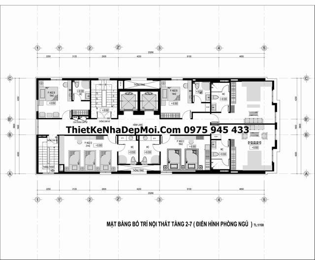 Bản vẽ tiêu chuẩn thiết kế khách sạn 3 sao