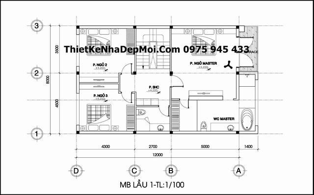 Bản vẽ kích thước mặt bằng lầu 1 nhà biệt thự mini 3 tầng 8x12 chị Thúy Sơn La