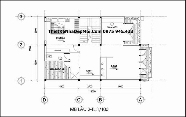 Thiết kế mặt bằng lầu 2 biệt thự hiện đại 1 trệt 2 lầu 96m2 mặt tiền 8m