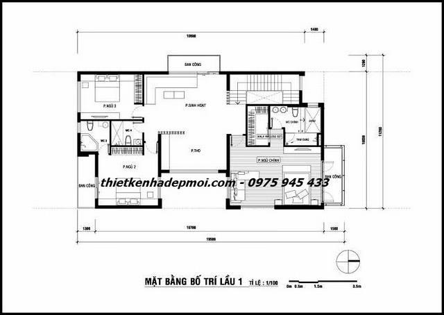 Không gian tầng 2 nhà 2 tầng hiện đại 100m2 đơn giản