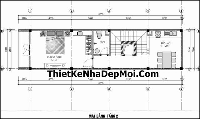 Bản vẽ nhà ống 55m2 4 tầng kinh doanh