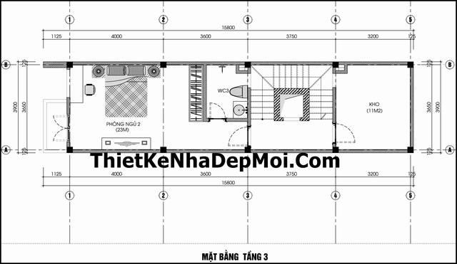 Thiết kế nhà ống mặt tiền 3.5m 4.5 tầng