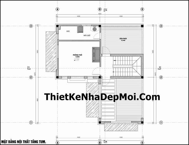 Bản vẽ kích thước mặt bằng công năng sử dụng các phòng biệt thự mini 3 tầng hiện đại