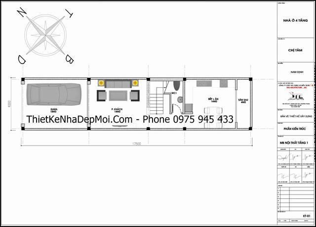 Mặt bằng trệt nhà ống 4 tầng hiện đại kiểu cầu thang lệch 4x17
